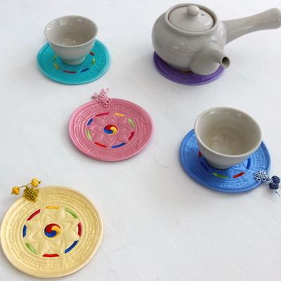 색동 원형컵받침