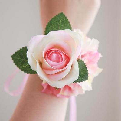 브라이덜샤워 꽃팔찌-핑크로즈