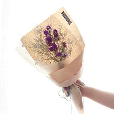천일홍 미스티블루 꽃다발