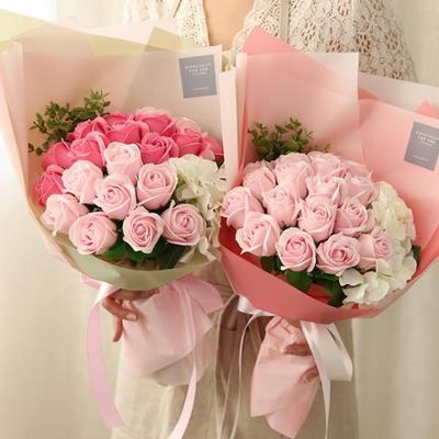 20송이 비누장미와 수국꽃다발