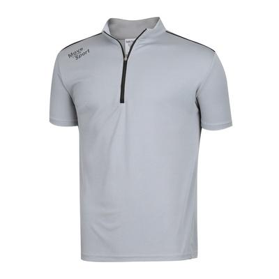 남성 스판 하이넥 반집업 골프 반팔 티셔츠 NA-KAHG-M01-그레이