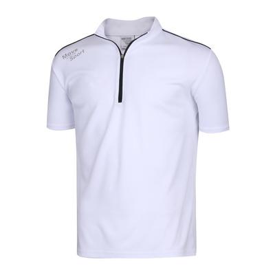 남성 스판 하이넥 반집업 골프 반팔 티셔츠 NA-KAHG-M01-흰색
