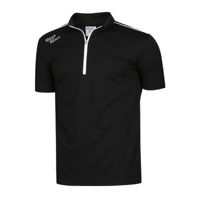 남성 스판 하이넥 반집업 골프 반팔 티셔츠 NA-KAHG-M01-검정