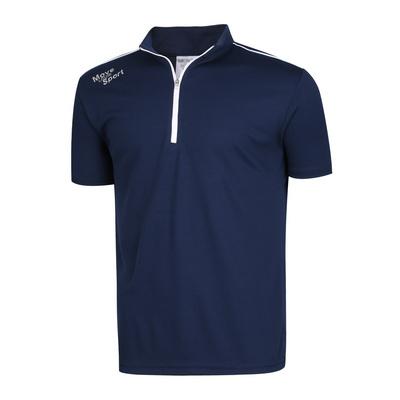 남성 스판 하이넥 반집업 골프 반팔 티셔츠 NA-KAHG-M01-네이비