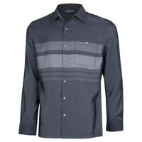 남성 봄 가을 베이직 스트라이프 카라넥 셔츠 YD-SHA-151-차콜
