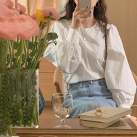 슬린 노버튼 베이직 퍼프소매 오버핏 여성 긴팔 셔츠