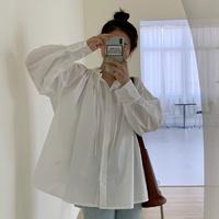 보첼 레이스 하이넥 리본 오버핏 퍼프소매 벌룬 남방 셔츠