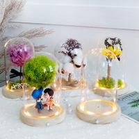 LED 감성 원목 유리돔 무드등 7종 프리저브드 꽃 부케 결혼 여자 친구 생일 선물