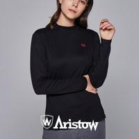 아리스토우 여자 기모 티셔츠 긴팔티 여성 블랙