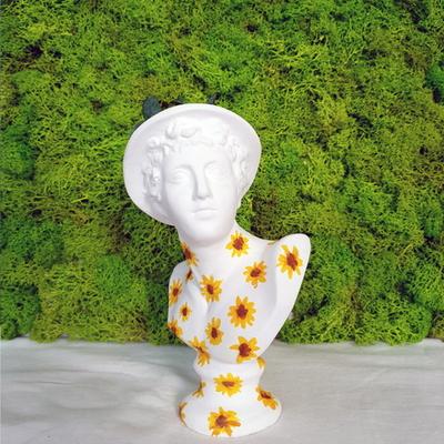 그림아트해바라기 소형 미니 석고상화분 20cm+리본2개
