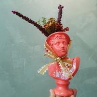 자개 아트 핑크 소형 미니 석고상화분 20cm+리본2개