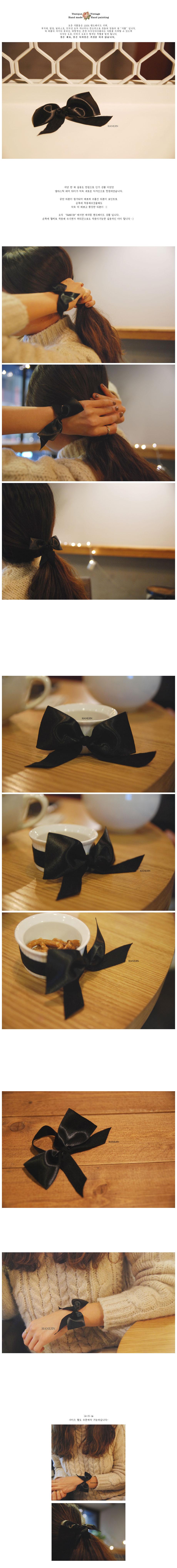 (핸드메이드) black ribbon elastic hair tie - 하네진, 3,500원, 팔찌, 패션팔찌