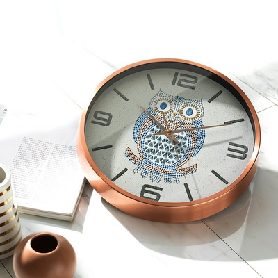 HC 국산 무소음 부엉이 고급 벽시계 거실 인테리어 예쁜 대형 벽걸이 시계 32CM