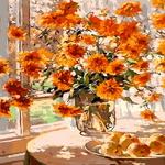 Q1014 꽃정물화 DIY명화그림그리기