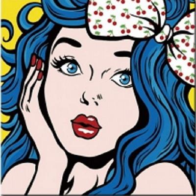 P102팝아트 파란머리의소녀 size 40x40cm DIY그림그리기