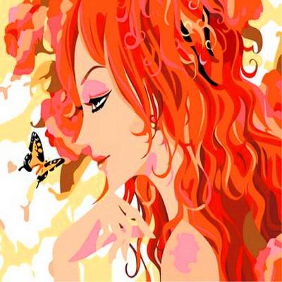 E013나비와여인 size 40x50cm DIY명화그림그리기