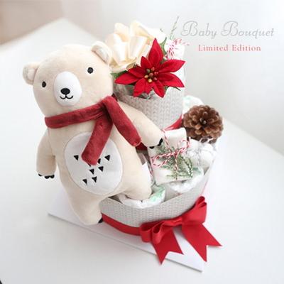 크리스마스 곰인형2단(인형+양말+워시타올)