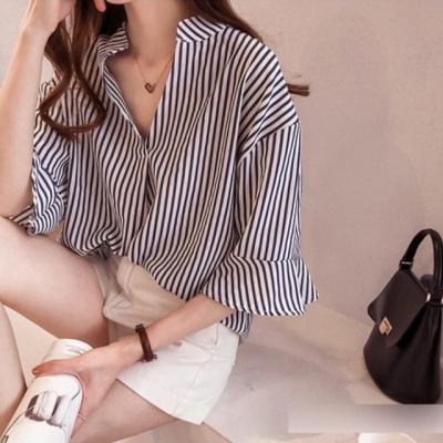 셔츠 - 프릴소매 스트라이프 셔츠 YE8048