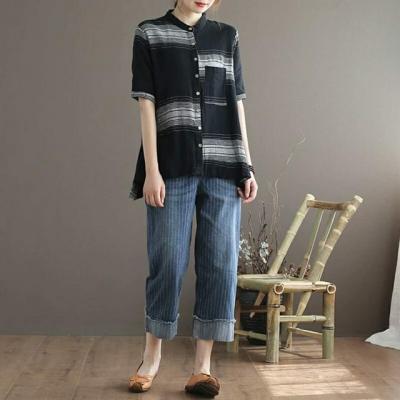 셔츠- 면마 스트라이프 포인트 셔츠 YE8070