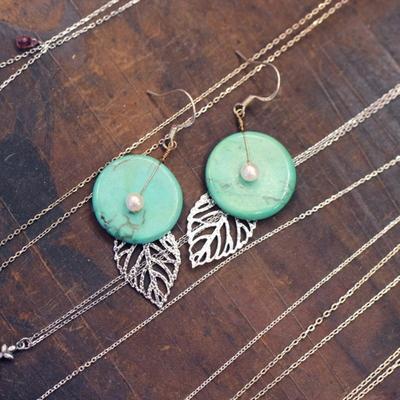 터키석 나뭇잎장식 귀걸이