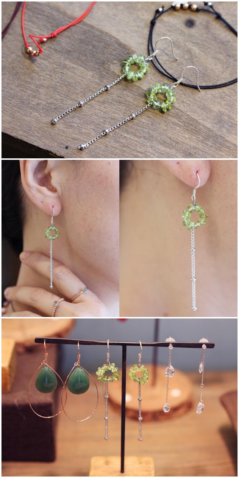 페리도트 체인장식 귀걸이 - 은나무, 19,000원, 진주/원석, 드롭귀걸이
