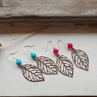 원석나뭇잎귀걸이