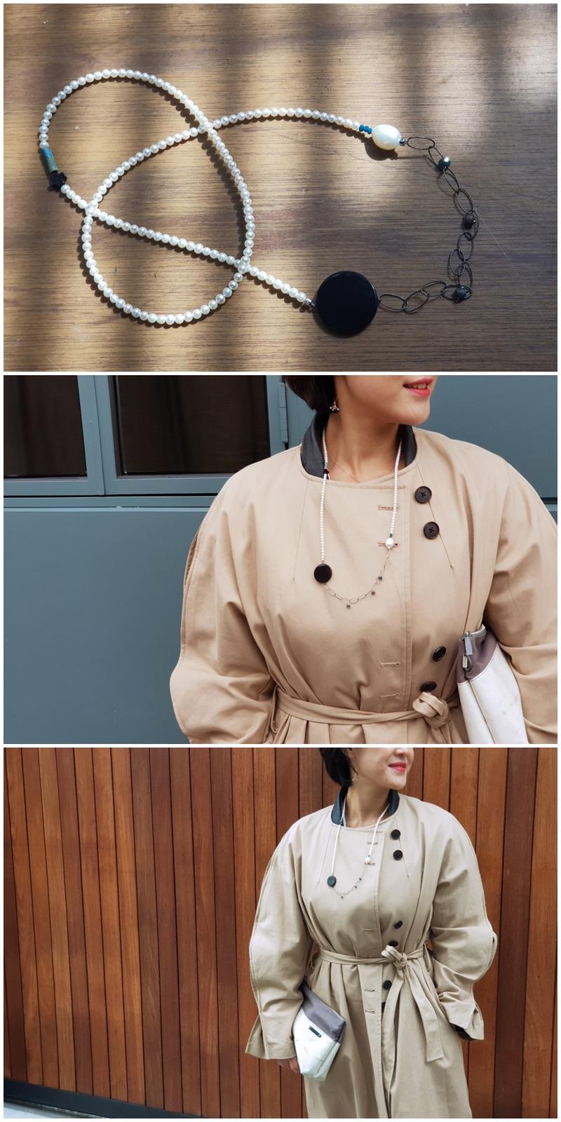 멀티웨이 오닉스장식 진주목걸이 - 은나무, 129,000원, 패션, 패션목걸이
