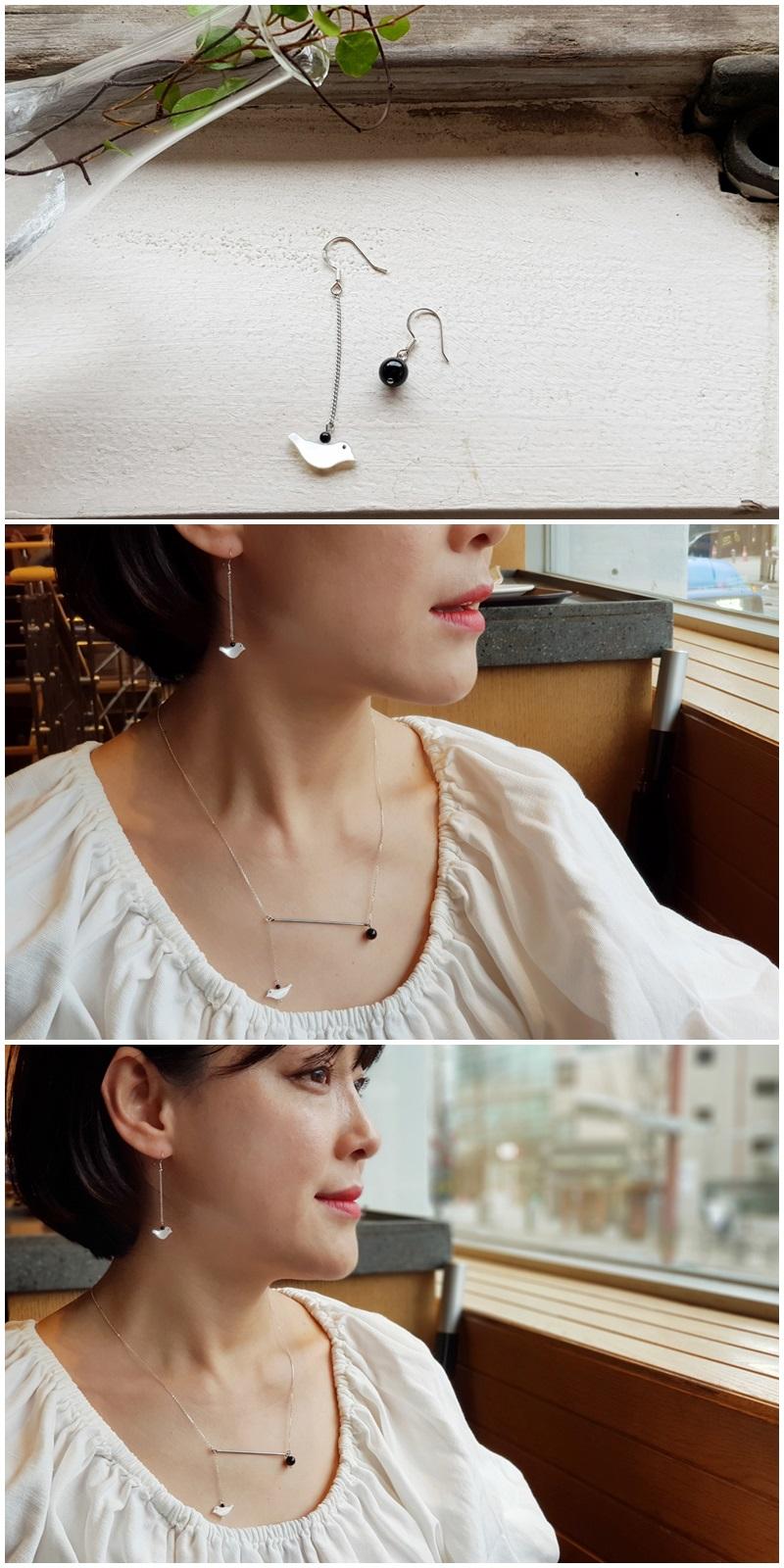 오닉스 자개새 언발귀걸이 - 은나무, 29,000원, 진주/원석, 드롭귀걸이