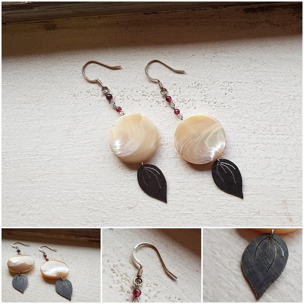가넷장식 자개 귀걸이 - 은나무, 49,000원, 진주/원석, 드롭귀걸이