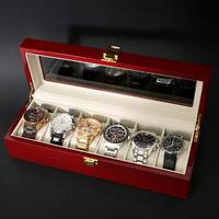 프리미엄 명품 손목시계 수납보관 6칸 우드케이스 RED