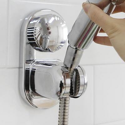 강력 2중 진공흡착 각도조절 간편부착 샤워기 거치대