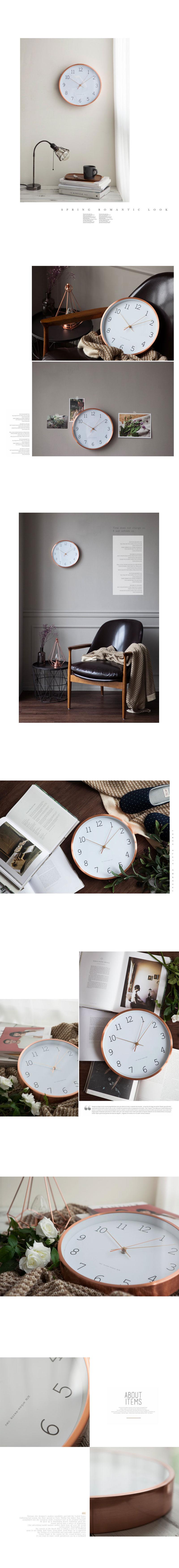 로즈골드 벽시계 - 안나하우스, 36,000원, 벽시계, 디자인벽시계