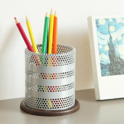 철제 메쉬 우드 원형 연필꽂이 연필통 펜꽂이
