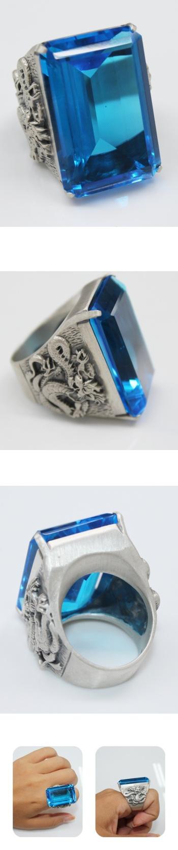 아쿠아마린 용반지 아쿠아마린 반지 - 오이수공예, 365,000원, 실버, 진주/원석반지