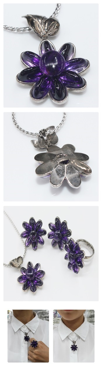 꽃 자수정팬던트 - 오이수공예, 250,000원, 패션, 패션목걸이