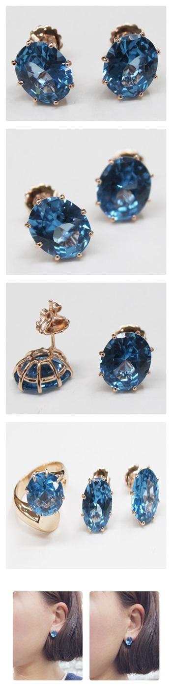 런던블루 귀걸이 - 오이수공예, 250,000원, 진주/원석, 볼귀걸이