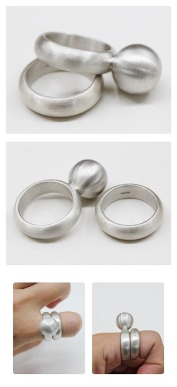 볼반지 쌍가락지 - 오이수공예, 240,000원, 실버, 진주/원석반지