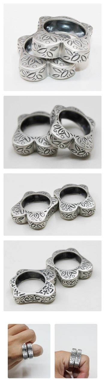 전통무늬 하트 쌍가락지 - 오이수공예, 250,000원, 실버, 진주/원석반지