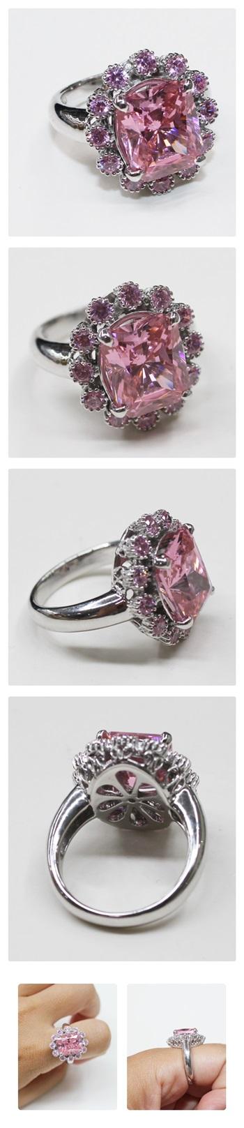 화려한 핑크지르콘 보석반지 - 오이수공예, 430,000원, 실버, 진주/원석반지