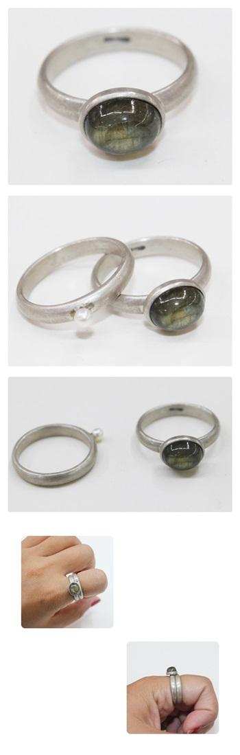 레브라도라이트 쌍가락지 - 오이수공예, 190,000원, 실버, 진주/원석반지
