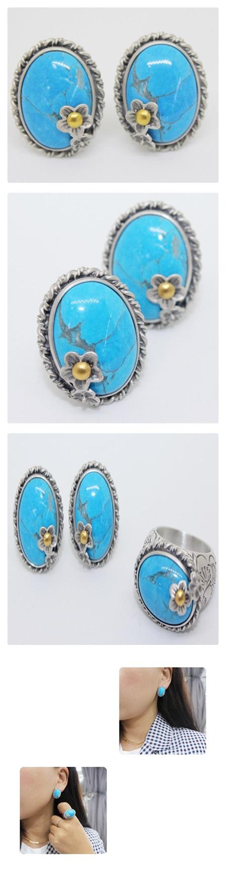 [주문제작] 매화 터키석귀걸이 - 오이수공예, 240,000원, 진주/원석, 볼귀걸이