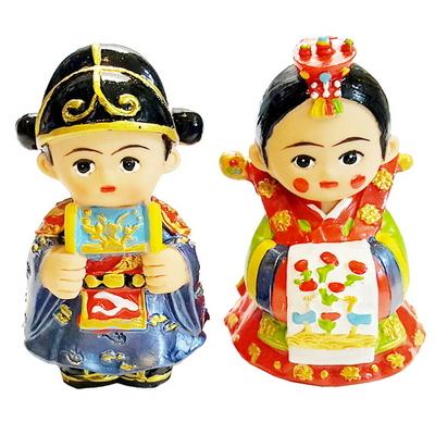 한국전통 웨딩커플 신랑신부 미니 장식인형
