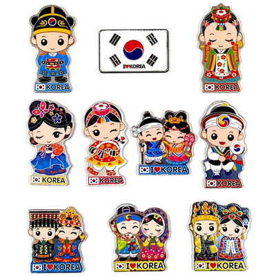 한국기념품 전통캐릭터 유명관광지 민속한복 미니 아크릴 냉장고자석 (10개묶음)