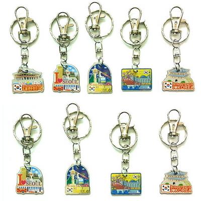 한국기념품 전통캐릭터 유명관광지 민속한복 미니 아크릴 열쇠고리 (9개묶음)