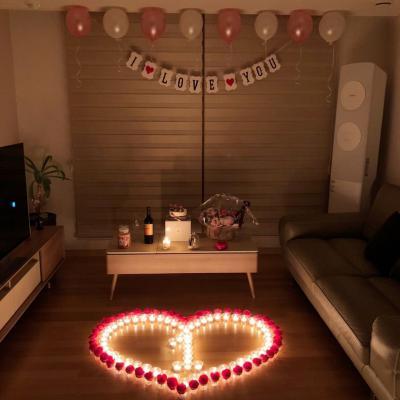 프로포즈이벤트- led촛불과 장미꽃세트 / 신혼 집에서 1주년 생일 파티 용품