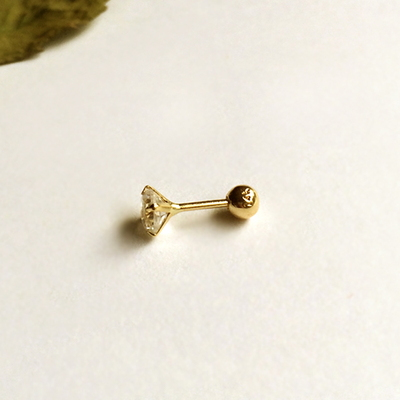 14k gold small cubic earring