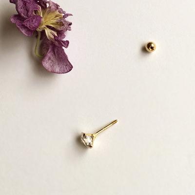 14k gold medium cubic earring