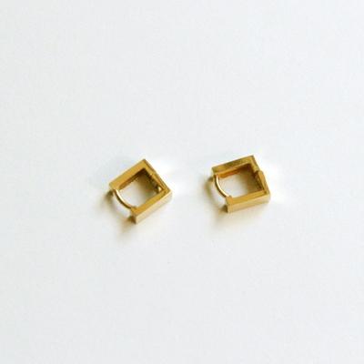 14k gold square ring earring