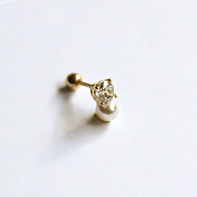 14k gold pearl cubic piercing