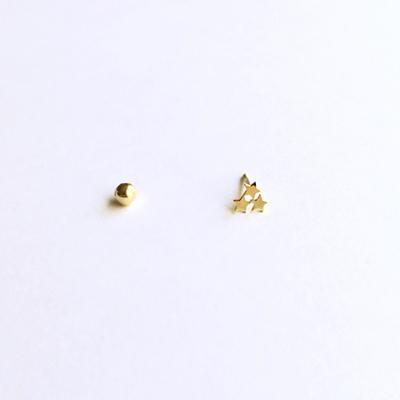 14k gold three stars piercing